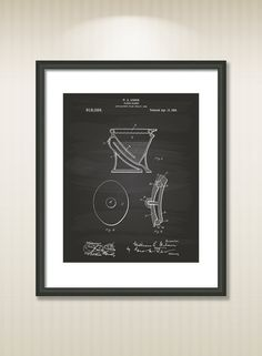 This reproduction was digitally restored and in some cases altered to remove defects or unwanted artifacts present in the original patent document.  Buy more and save! Buy ... #patentart #patentprints #vintage #blueprint #toilet