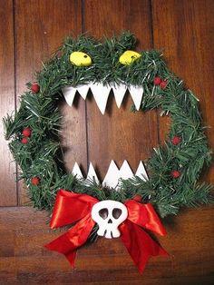 Nightmare Before Christmas killer wreath-I would change this slightly for G's bedroom door