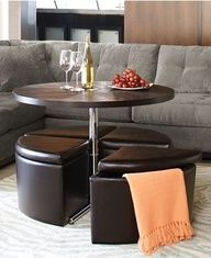 Great For Small Spaces; Coffee Table That Converts Into Dining Table And  Storage Seating
