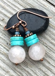 Stacks of stone in very pretty colors! https://www.etsy.com/listing/269168201/stone-dangle-earringspale-pink