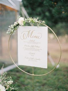 Circular menu sign: http://www.stylemepretty.com/2016/03/04/classic-romantic-backyard-wedding-in-montana/ | Photography: Rebecca Hollis - http://rebeccahollis.com/
