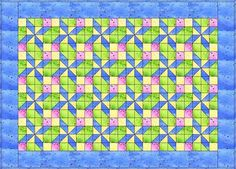 "Pretty in pastels is an easy baby quilt pattern that finishes at 30"" x 42"". A pinwheel-like quilt block adds lots of spin to the quilt's layout."