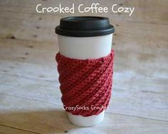 Crooked Coffee Cozy: Crochet for your coffee cup! 10 free #crochet coffee sleeve patterns to make today! Great for gifts and keeping fingers safe! ♥