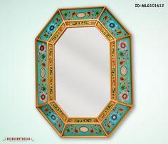 """Espejo decorativo vidrio Pintado, """"Tesoro Floral andino"""" - Decoracion interior - Decoraciones con Espejos - Artesania Peruana by DECORCONTRERAS on Etsy"""
