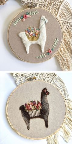 Llama and alpaca hoop art by Fuzzy and Flora | needle felting | embroidery | llama embroidery | alpaca art