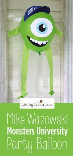 Monsters University - DIY Mike Wazowski Party Balloon - - DIY Mike Wazowski Balloon Printable Design for a fun Monsters University Birthday Party! Fiesta Monster University, Monster University Birthday, Monsters Inc University, Monster Birthday Parties, 3rd Birthday Parties, Birthday Fun, Birthday Ideas, Birthday Pictures, Monsters Inc Boo