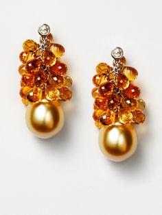 Citrine Cluster Earrings by Vendoro at Gilt