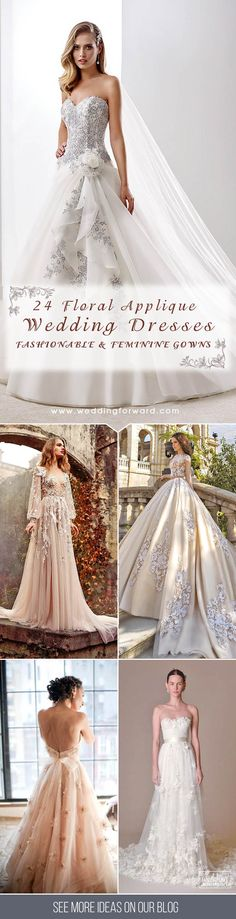 24 Gorgeous Floral Applique Wedding Dresses - Trend For 2016 ❤ Floral applique wedding dresses are not only fine, they are also in trend for this year. See more: http://www.weddingforward.com/floral-applique-wedding-dresses/ #wedding #dresses