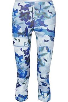 Cropped printed stretch-jersey leggings #pants #offduty #women #covetme #livetheprocess
