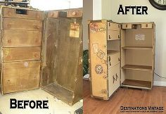 wardrobe trunk upcycled into campaign style bookcase, painted furniture, repurposing upcycling