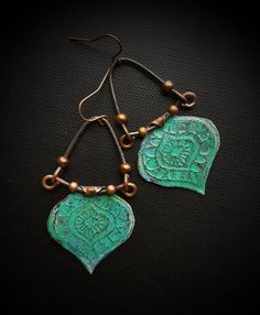 Tribal, Southwest, Turquoise, Copper, Patina, Artisan Made, Aged Copper Earrings, Primitive, Organic, Beaded Earrings