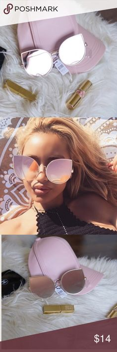 Rose gold sunglasses silver frame Oversized cat eye sunglasses Accessories Sunglasses