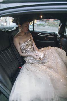 Wedding dress with golden details