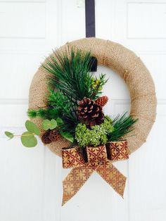 Woodland burlap wreath