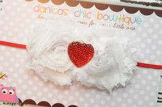 Valentines double shabby headband with a by DanicasChicBowtique, $9.00