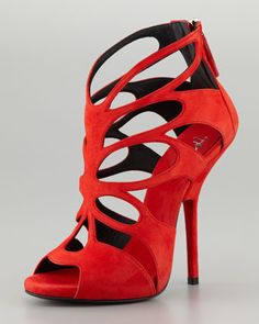 Butterfly Cutout Suede Sandal, Red by Giuseppe Zanotti at Neiman Marcus