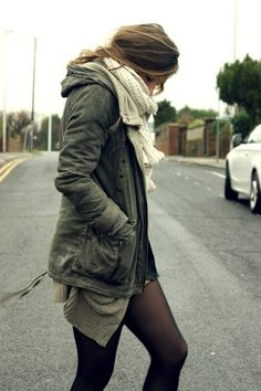 Olive green field jacket with knit scarf