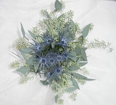 Fresh flowers from your local florist in Great Barrington MA. Thistle Bouquet, Eucalyptus Bouquet, Seeded Eucalyptus, Wildflower Bridal Bouquets, Wedding Flowers, Fresh Flowers, Wild Flowers, Thistle Wedding, White Mums