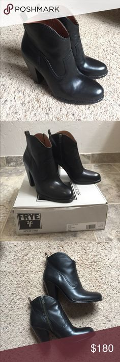 Frye Madeline Short Bootie 9 Black Still available online at Frye for $229...... or you can have mine for a deal! Love them! They are soooo flattering on the leg with the curved short shaft of this zipped up pair. I have worn them on two occasions. I am downsizing my boot collection otherwise I would keep them! Smoke/Pet FREE home. Frye Shoes Ankle Boots & Booties