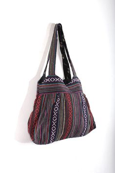 Boho style hemp shoulder bag handmade by HMONG Hill Tribes in Northern Thailand. #ethniclanna #hmonghilltribes #bohobags #handbags #totebags #shoulderbags #oneofakind