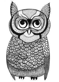Free Adult Coloring Book Pages  Owl - by Blue Star Coloring  #adultcoloring #coloringbook