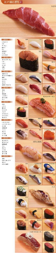 Sushi Cascade: Edomae Nigiri Sushi Menu at Tsukiji Tamasushi (Tokyo, Japan)|築地玉寿司の江戸前にぎり. Tsukiji, by the way, is a large fishing center located in Tokyo. If you eat here, it's some of the best and freshest sushi you will ever taste. Sushi Recipes, Wine Recipes, Asian Recipes, Cooking Recipes, Japanese Food Sushi, Japanese Dishes, Sushi Comida, Sushi Menu, Sashimi Sushi