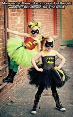 Girl super hero costumes! I would love for my goddaughters to pull one of these!