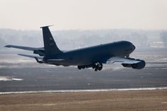 A KC-135R Stratotanker takes off from Grissom Air Reserve Base, Ind., March 9, 2014. During the 434th Air Refueling Wing's March unit training assembly, the unit held a strategic warfare exercise, executing various response, mobility, and command and control procedures in response to a simulated global threat, which culminated in 10 Stratotankers taking off in two five-ship formations. (U.S. Air Force photo/Staff Sgt. Andrew McLaughlin)