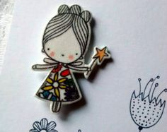 Shrink plastic cute little fairy with flowery dress and wand brooch
