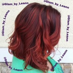 Cherry Cola Hair!!  Dark violet hair with Red Ombre Lob!  Follow me on instagram @glam_by_leann