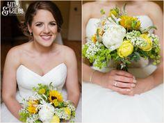 Bride hods yellow bouquet Newton Grange Wedding Photography Tux & Tales Photography of York