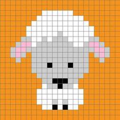 Zoodiacs Sheep Crochet Graph - One Dog Woof Sheep Cross Stitch, Cross Stitch Cards, Cross Stitch Animals, Cross Stitching, Cross Stitch Embroidery, Pixel Crochet, Crochet Chart, Cross Stitch Designs, Cross Stitch Patterns