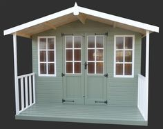 Painted Sheds | Painted Green and White Summerhouse Shed