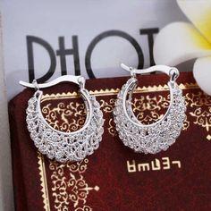 ¡ Venta caliente! pendiente Al Por Mayor, Pendientes de plata de joyería de moda, Earing Calado Flor SMTE329