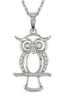 Diamond Owl Pendant in 10k White Gold.