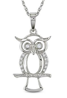 Diamond Owl Pendant Necklace in White Gold.