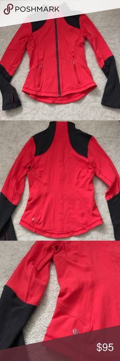 Lulu forme jacket Lululemon forme jacket. Love red deep coral gray size 8. Like new condition, no flaws. Never worn. Smoke free home. Has thumb holes on the sleeves. lululemon athletica Jackets & Coats