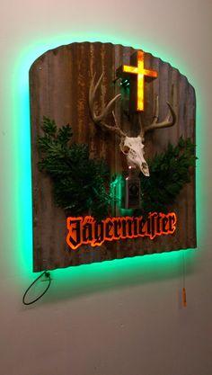 Custom Fabricated Hyper-Realistic Jagermeister Logo LED Sign