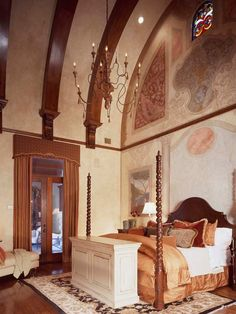 Beautiful Luxury Classic Home Design Inspiration : Astonishing Mediterranean Bedroom With High Ceiling Design Maymont House