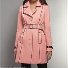 "2x Host Pick NWT pink trench coat Perfect condition! With tags and very beautiful with leggings/ skinny jeans and boots . Size XS 0-2.--shoulder to hem 33"" ❌trades ❌Paypal New York and Company Jackets & Coats"