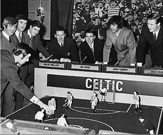 The all-conquering Quiz Ball team of the mid-60s. Willie Wallace, Jim Craig, celebrity guest John Cairney and Billy McNeill.
