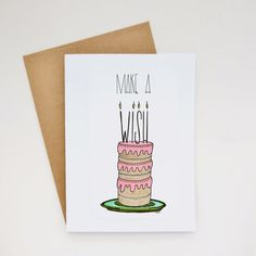 make a wish birthday greeting card  one of a kind by madeinhappy
