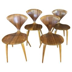 for sale on a fourpiece set of vintage walnut and birch bentwood side or dining chairs by norman cherner for plycraft american midcentury modern design