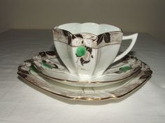 SHELLEY ART DECO QUEEN ANNE GREEN DAMSONS TRIO TRULY STUNNING