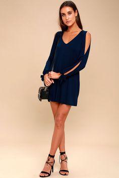 2cdc4d8353 Cute Navy Blue Dress - Shift Dress - Cold Shoulder Dress Casual Summer  Dresses, Trendy