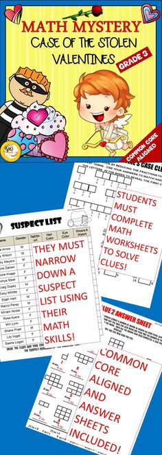 VALENTINE'S DAY NO PREP MATH ACTIVITY! Students will use a variety of math skills to solve a valentine crime and save the day!! 4th Grade Math, Third Grade, Math Skills, Math Lessons, Math Classroom, Classroom Activities, School Resources, Teaching Resources, Math Boards