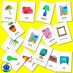 Furniture flash cards including plant, lamp, key