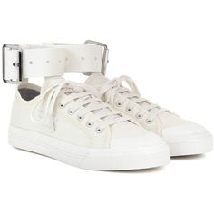 Adidas by Raf Simons Spirit Buckle Canvas Sneakers (3.966.735 IDR) ❤ liked on Polyvore featuring shoes, sneakers, white, buckle sneakers, adidas trainers, adidas footwear, adidas and plimsoll shoes