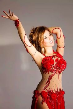 Gorgeous red belly dance costume