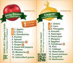 """List of the Top 12 must buy organic foods and """"bottom"""" 15 that are safe to buy conventionally. The dirty dozen are the 12 fruits and veggies with the highest chemical/pesticide usage and the clean 15 are the ones with the lowest Food food Yummy Recipes, Real Food Recipes, Great Recipes, Favorite Recipes, Healthy Recipes, Healthy Menu, Healthy Fruits, Recipes Dinner, Drink Recipes"""